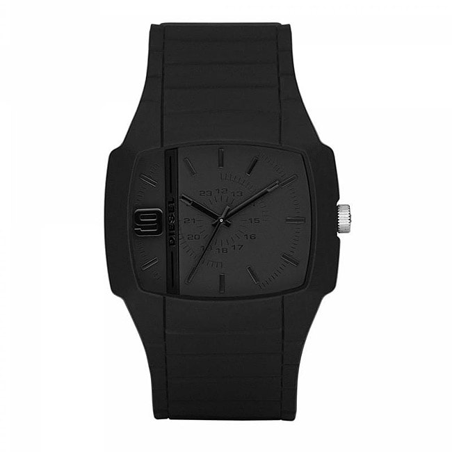 Diesel Men's Silicone Strap Solid Black Watch - Thumbnail 0