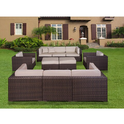 Atlantic Milano Deluxe 10-piece Synthetic Wicker Sectional Set with Antique Beige SUNBRELLA Cushions