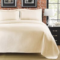 Diamante Matelasse Ivory Twin-size Coverlet