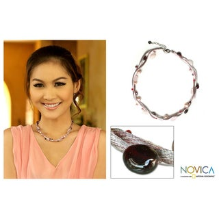 Handmade 'New Moments' Pearl and Multi-gemstone Necklace (4.5-8 mm)(Thailand)