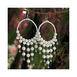 Sterling Silver 'Harmony of White' Pearl Earrings (6 mm)(Thailand)