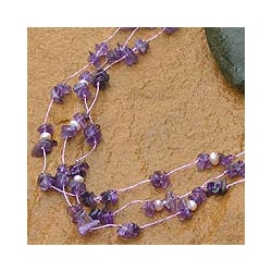 Handmade 'Natural Spectacular' Pearl and Amethyst Necklace (5 mm)(Thailand)