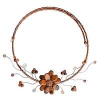 Handmade Stainless Steel 'Golden Bouquet' Tiger's Eye Necklace (Thailand)