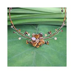 Stainless Steel 'Golden Bouquet' Tiger's Eye Necklace (Thailand)