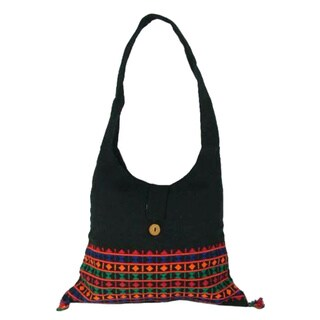 Handmade Cotton 'Vibrant Tease' Shoulder Bag (India)