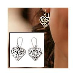 Sterling Silver 'Angel Heart' Earrings (Mexico)