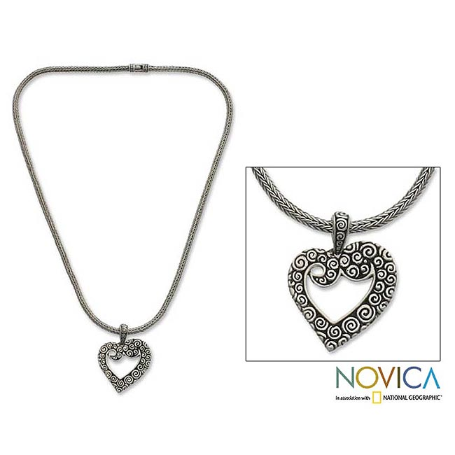 Sterling Silver 'Javanese Heart' Necklace (Indonesia)