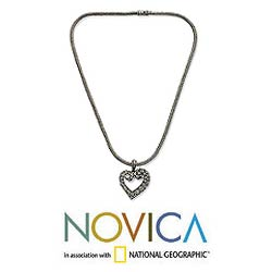 Sterling Silver 'Javanese Heart' Necklace (Indonesia) - Thumbnail 1