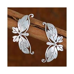 Sterling Silver 'Butterfly Romance' Dangle Earrings (Mexico)