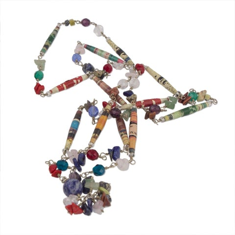 Handmade 'Recycling Rainbows' Multi-gemstone Necklace (Brazil)