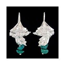 Handmade Sterling Silver 'Dearest' Chrysocolla Earrings (Peru)