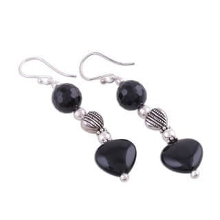 Handmade Sterling Silver 'Night of Love' Onyx Earrings (India)