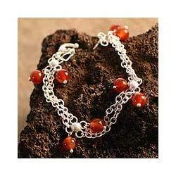 Sterling Silver 'Ginger Honey' Carnelian Bracelet (Peru)