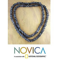 Handmade Iolite 'Blue Shadows' Long Beaded Necklace (India)