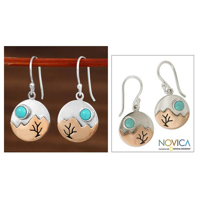 Sterling Silver 'Taxco at Dusk' Turquoise Earrings (Mexico)