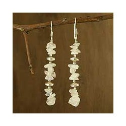 Handmade Sterling Silver 'Cloudfall' Moonstone Long Dangle Earrings (India)