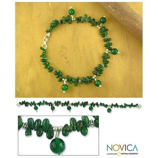 Handmade Sterling Silver 'Forest' Aventurine Anklet (India)