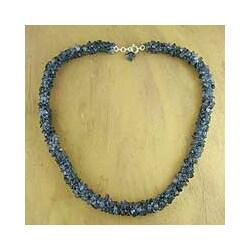 Handmade Iolite 'Blue Shadows' Beaded Necklace (India)