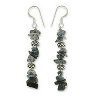 Handmade Sterling Silver 'Sky Garland' Sodalite Earrings (India)