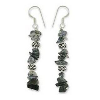 Handmade Sterling Silver 'Sky Garland' Sodalite Earrings (India)