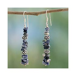 Sterling Silver 'Sky Garland' Sodalite Earrings (India)