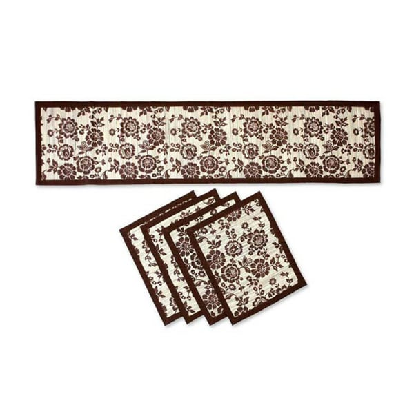 Handmade Set for 4 Reed 'Brown Bloom' Table Runner and Placemats (Indonesia)