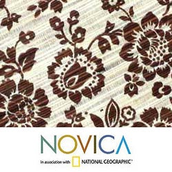 Set for 4 Reed 'Brown Bloom' Table Runner and Placemats (Indonesia)