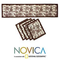 Handmade Set for 4 Reed 'Brown Bloom' Table Runner and Placemats (Indonesia)|https://ak1.ostkcdn.com/images/products/6175437/Set-for-4-Reed-Brown-Bloom-Table-Runner-and-Placemats-Indonesia-P13829320.jpg?impolicy=medium