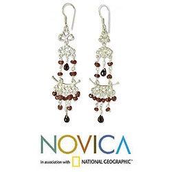 Sterling Silver 'Glorious' Garnet Chandelier Earrings (India)