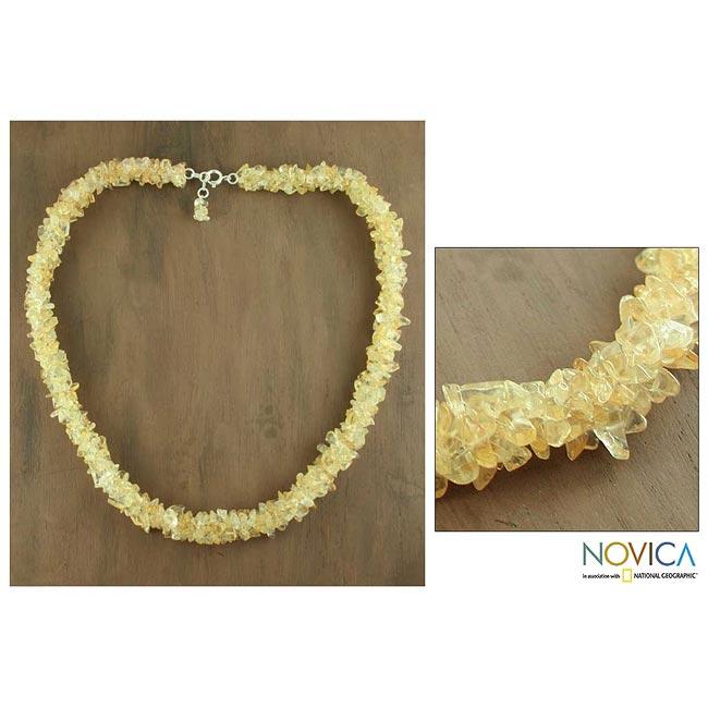 Handmade 'Lemon Sugar' Citrine Beaded Necklace (India)