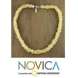 Handmade 'Lemon Sugar' Citrine Beaded Necklace (India)