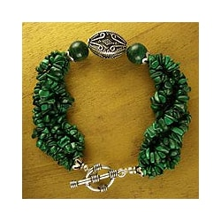 Sterling Silver 'Natural Sophistication' Malachite Bracelet (India)