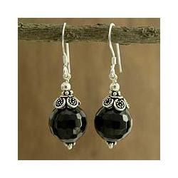 Sterling Silver 'Jaipur Sonnet' Onyx Dangle Earrings (India)