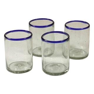 Handmade Set of 4 Blown Glass 'Blues' Juice Glasses (Guatemala)