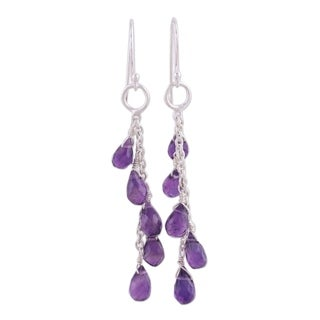Handmade Sterling Silver 'Lilac Waterfall' Amethyst Dangle Earrings (India)