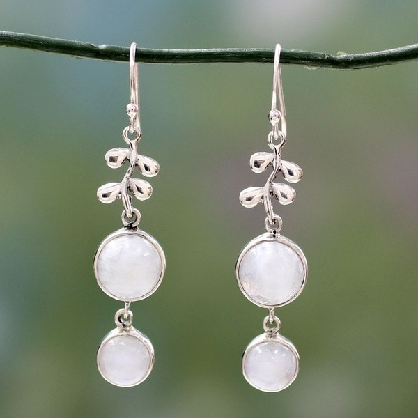 Handmade Sterling Silver 'Sweet Sugar Cakes' Moonstone Dangle Earrings (India)