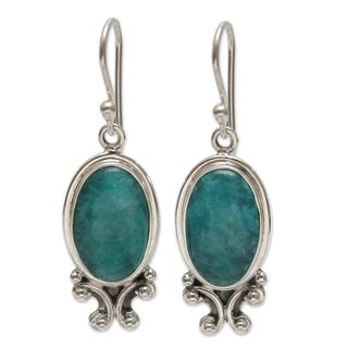 Handmade Sterling Silver 'Andes Mystique' Amazonite Earrings (Peru)