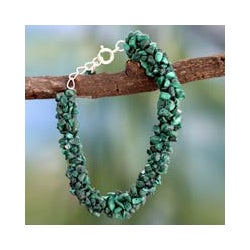 Handmade 'Magic Forest' Malachite Bead Bracelet (India)