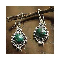 Sterling Silver 'Andean Rose' Chrysocolla Earrings (Peru)