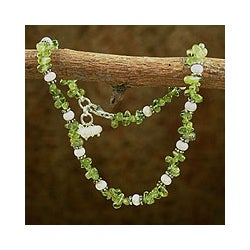 Sterling Silver 'Fresh Breeze' Pearl Peridot Anklet (3-3.5 mm)(India)