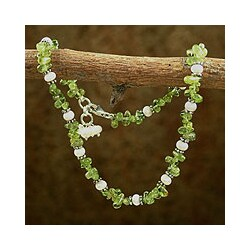 Handmade Sterling Silver 'Fresh Breeze' Pearl Peridot Anklet (3-3.5 mm)(India)