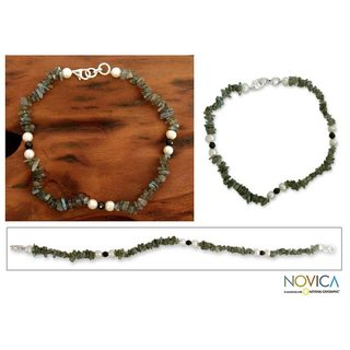 Handmade Sterling Silver 'Mumbai Fantasy' Pearl Anklet (India)