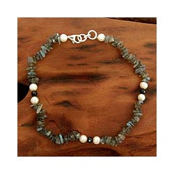 Sterling Silver 'Mumbai Fantasy' Pearl Anklet (India)