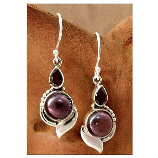 Handmade Sterling Silver X27 Modern Romance Pearl And Garnet Earrings