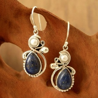 Midnight Moon Pear Blue Lapis Lazuli Gemstone with White Pearl 925 Sterling Silver Womens Dangle Earrings (India)