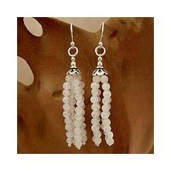 Handmade Sterling Silver 'Whisper' Moonstone Dangle Earrings (India)