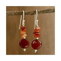 Sterling Silver 'Radiant Sunset' Carnelian Dangle Earrings (India)