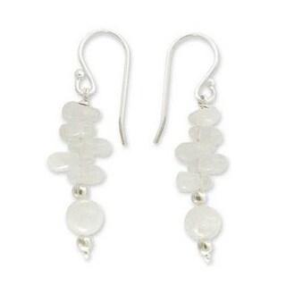 Handmade Sterling Silver 'Cloudfall' Moonstone Dangle Earrings (India)