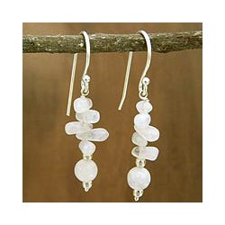 Handmade Sterling Silver 'Cloudfall' Moonstone Dangle Earrings (India)