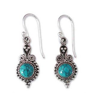 Handmade Sterling Silver 'Love Forever' Dyed Magnesite Earrings (India)